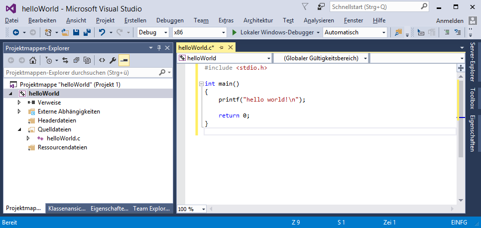 Visual Studio mit hello-world-Programm
